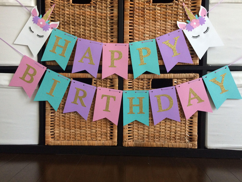 Unicorn Birthday Party, Unicorn Birthday Banner, Unicorn Party, Rainbow Birthday, Unicorn Decoration, Unicorn Birthday, Unicorn Banner, Mint by SparkleMyParty on Etsy https://www.etsy.com/listing/602043685/unicorn-birthday-party-unicorn-birthday