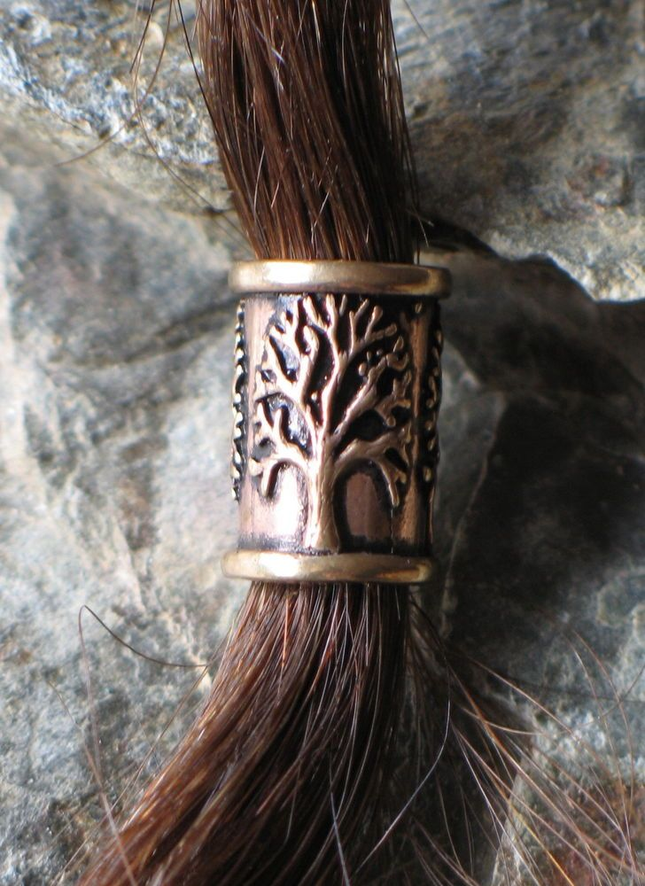 Beard Bead 2 Hair Braid Bronze Gold Silver tube Viking Biker Boho Dread Celtic