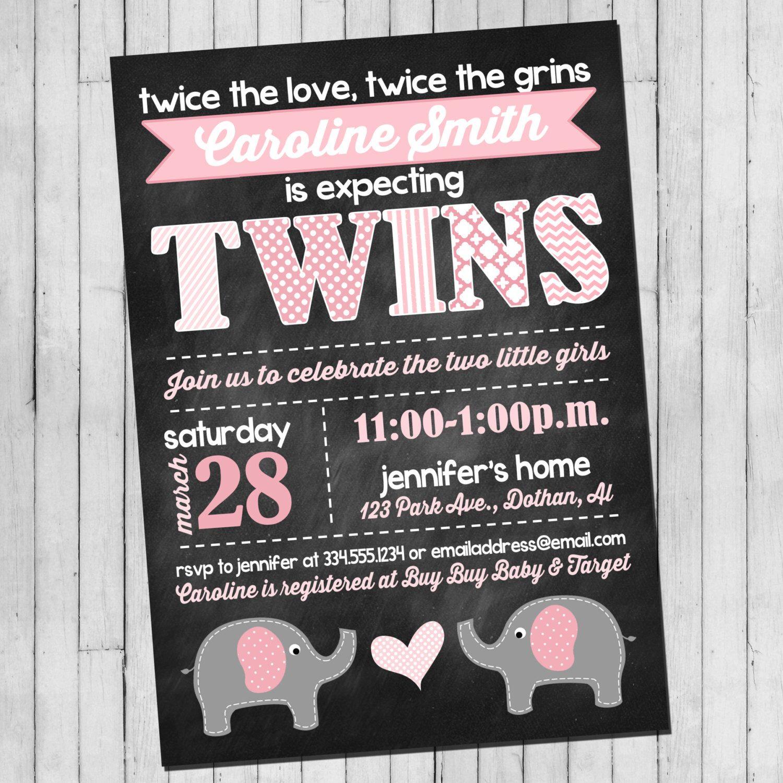 Twin Girl Baby Shower Invitation | Pink Gray Elephant | Elephant ...
