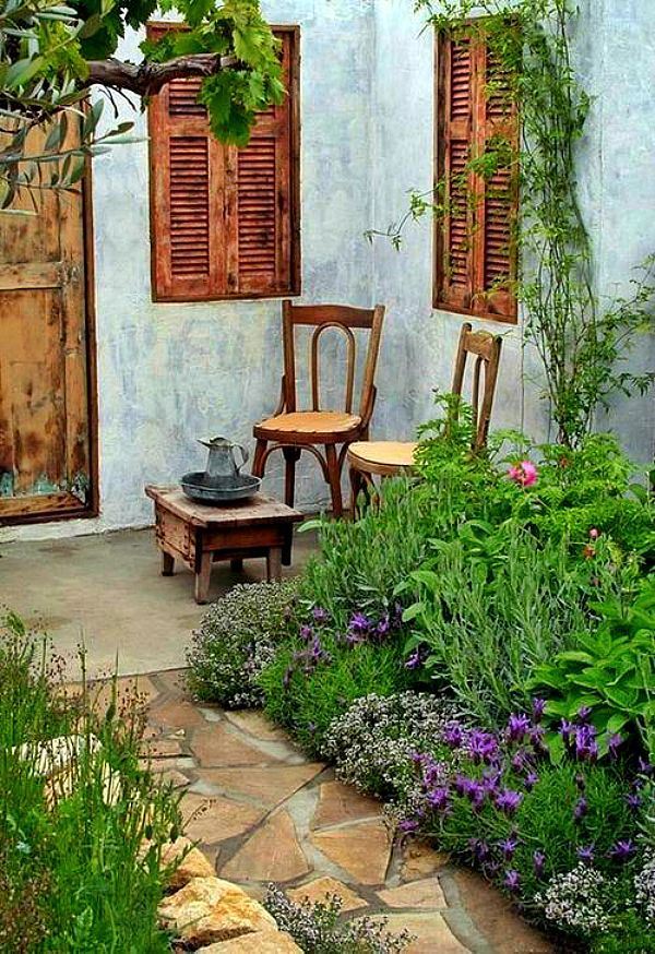 French Rustic Garden Small Courtyard Gardens French Country