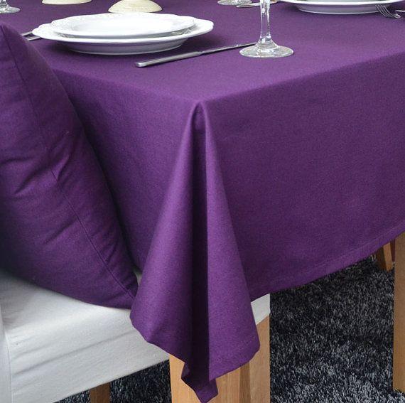 Solid Violet Purple Tablecloth 56inch----100% Cotton Canvas Choose Lace Trim