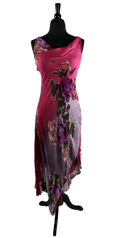 cb40ccc0 Vintage Betsey Johnson Dress /Silk Burnout Velvet / Bombshell Bias Cut /  Handkerchief Hem / Fuchsia Multi Pink Rose / 1990's does 1930's | Betsey  Johnson ...