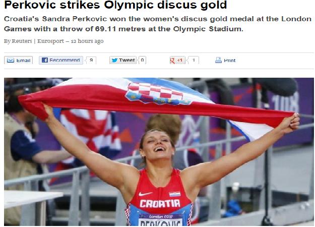 """""""Hrvatska slavi zlatnu Sandru"""" Olympics, Sports"""