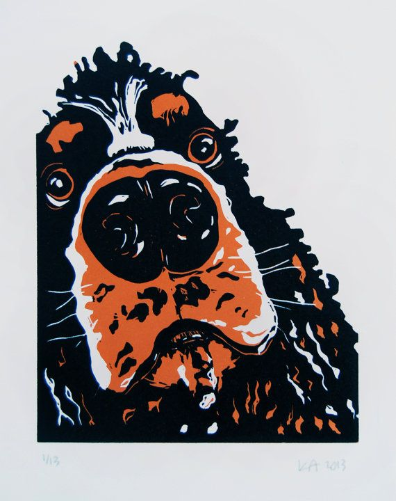 Cocker Spaniel Linocut Print Black And Orange Cocker Dog Print Gift For Dog Owner Dog Portrait Linocut Prints Dog Art Dog Paintings