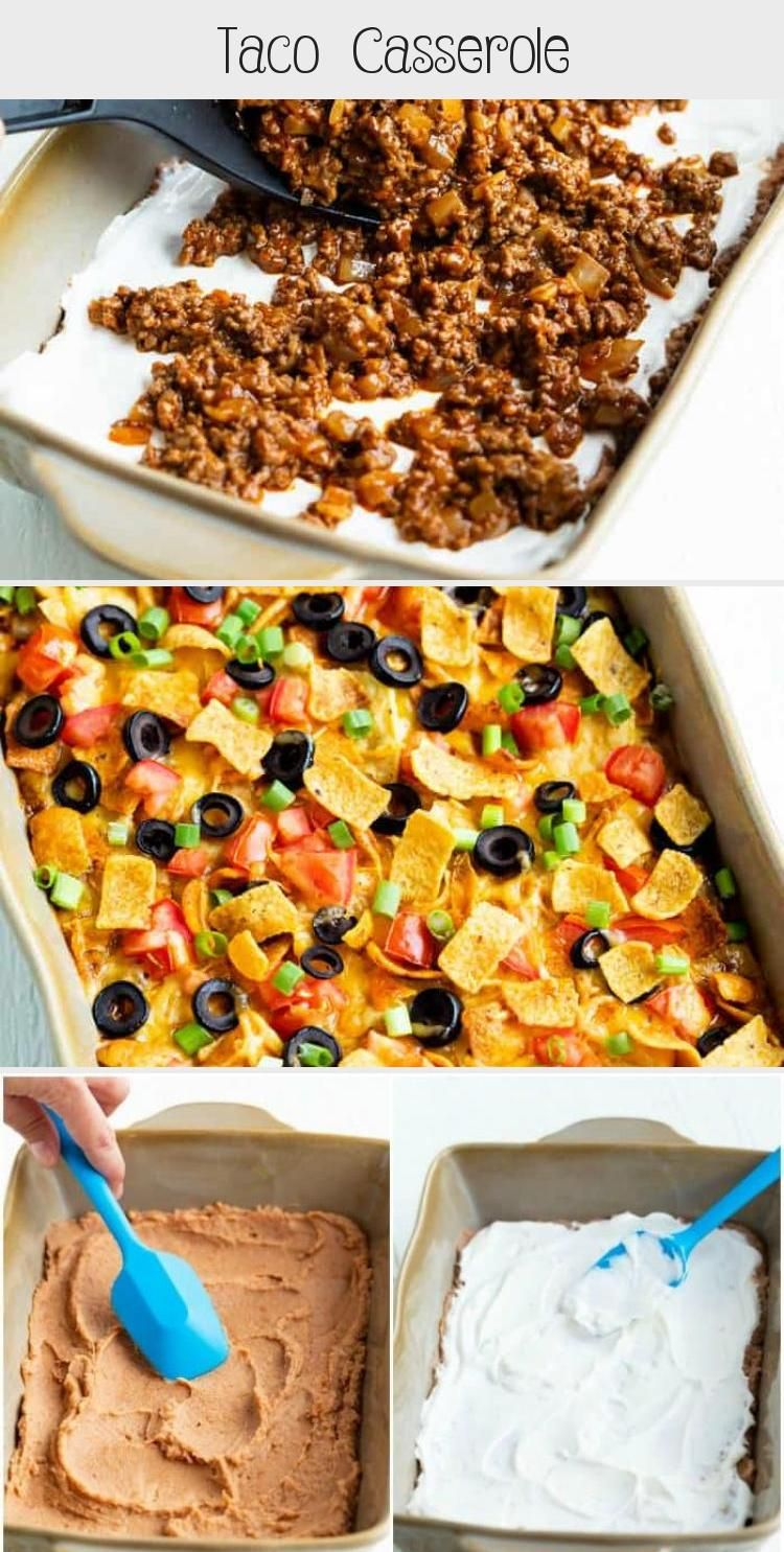 This Taco Casserole Recipe is loaded with all of your Mexican favorites and topped with Doritos Fritos or Tortilla Chips Its easy to assemble days ahead of time and bake...