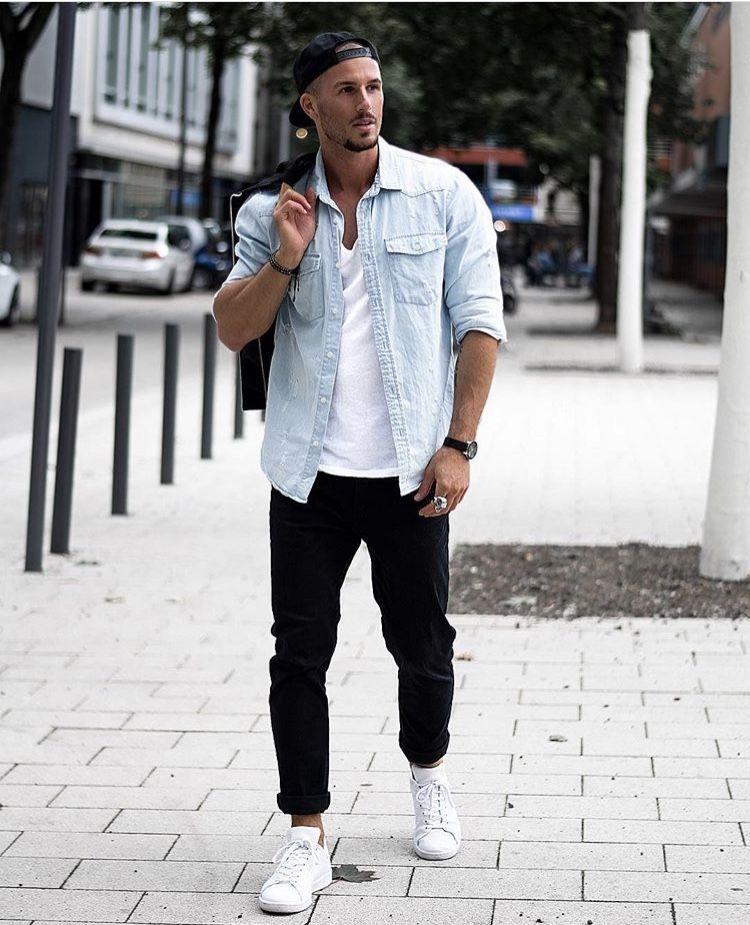 Light top, dark pants   Mens fashion wear, Mens fashion:__