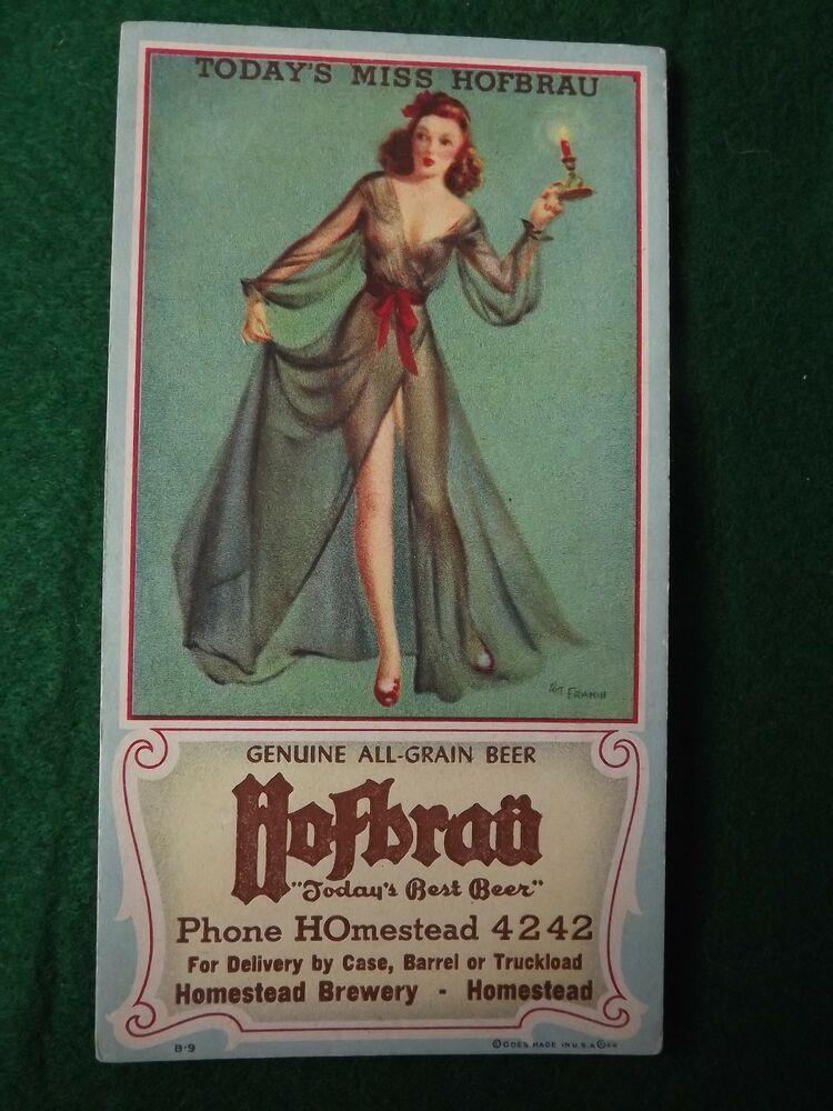 Vintage WW2 40's Pin Up Ink Blotter Hafbrau Beer Advertising