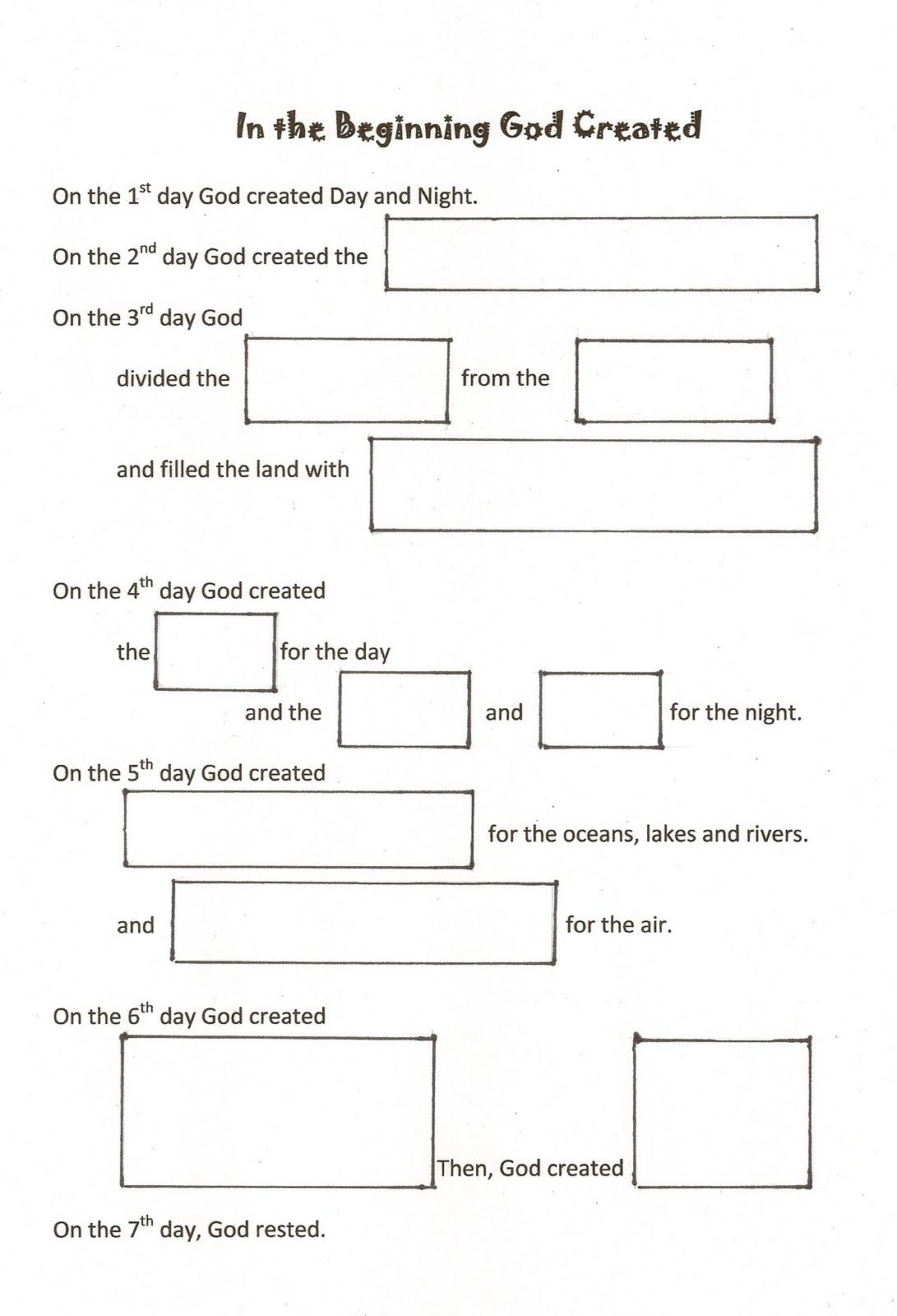 Free Worksheet Fill In The Blank Worksheets worshiping with children days of creation fill in the blank worksheet