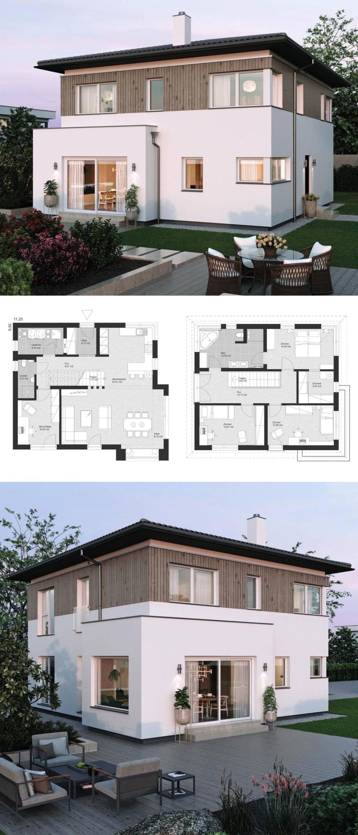 Moderne landhaus stadtvilla grundriss mit walmdach for Einfamilienhaus bauen ideen