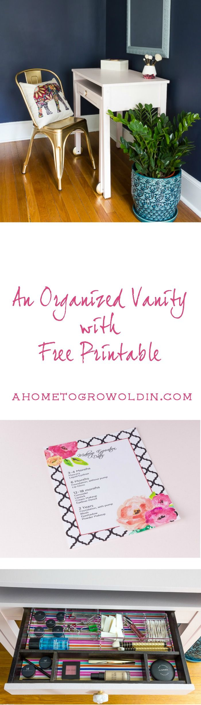 An Organized Bedroom Vanity and Desk with a Free Makeup Printable is part of bedroom Organization Vanity - This desk transforms beautifully into an organized vanity  It also includes a pretty makeup expiration list to keep track of when to throw out old makeup