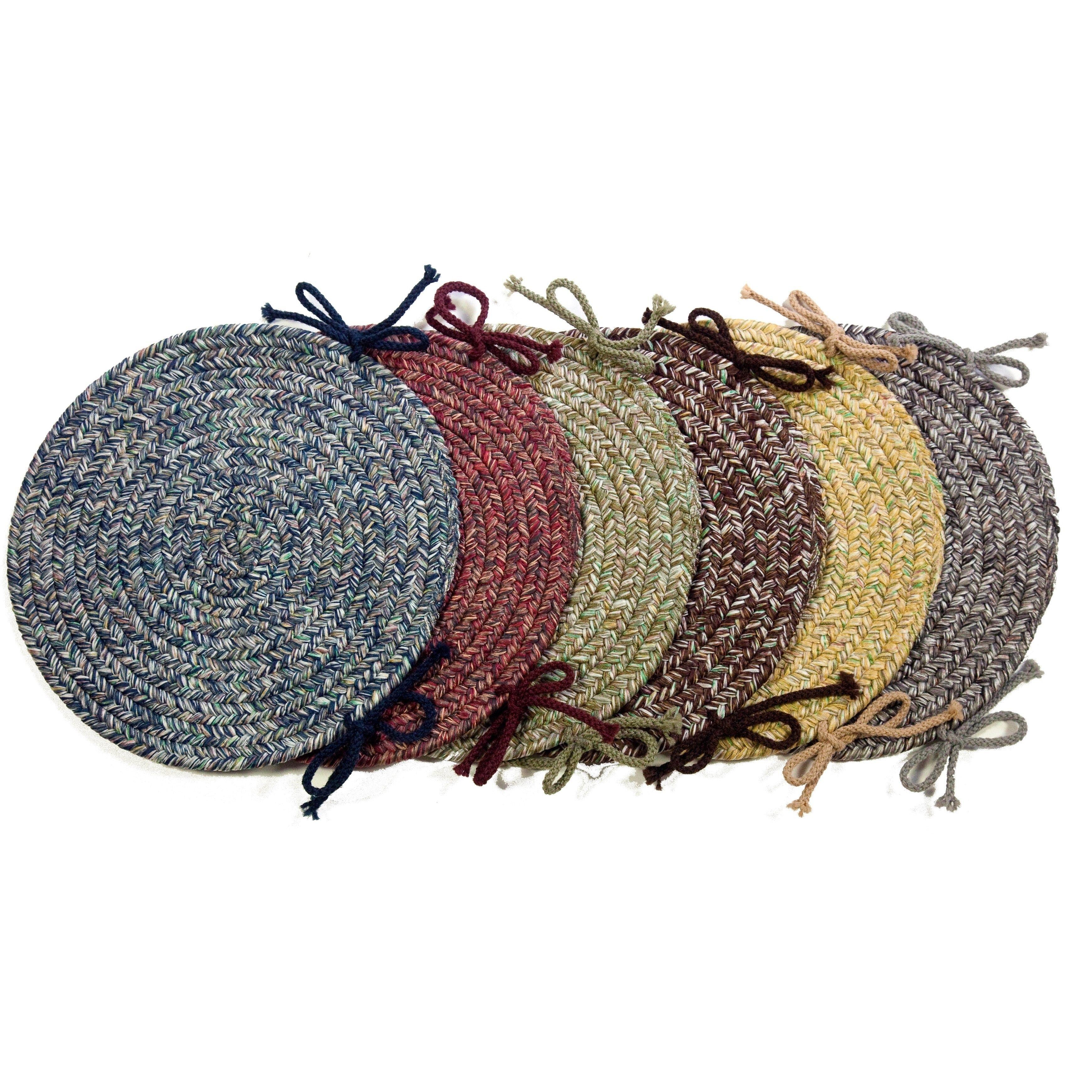 rhody rug sandi reversible braided chair pads set of 4 denim
