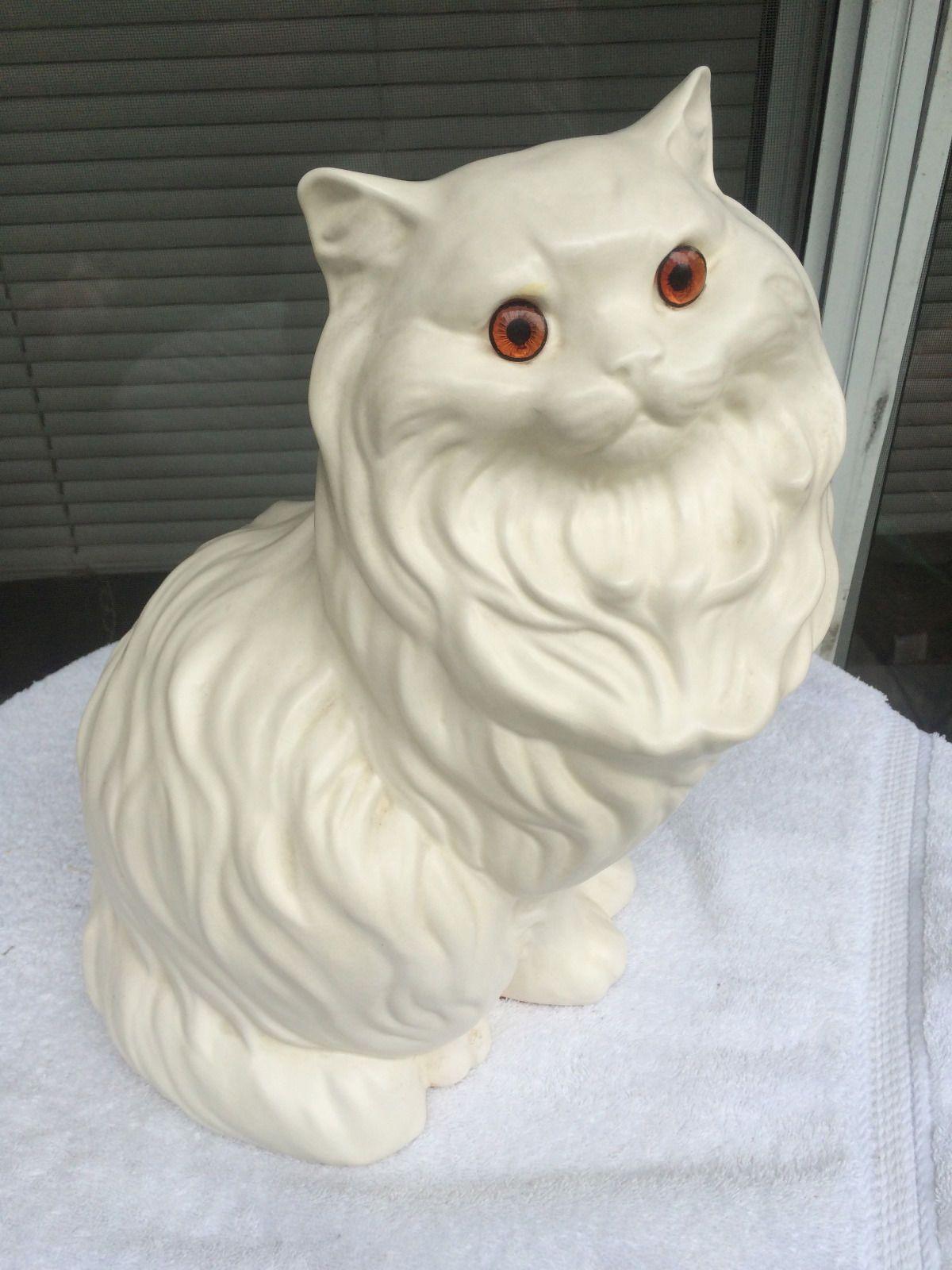 Vintage Persian Cat Kitten White Glazed Ceramic Figure