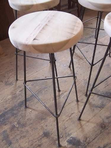 Banquetas desayunador barra mesa ratona madera hierro for Banquetas madera bar