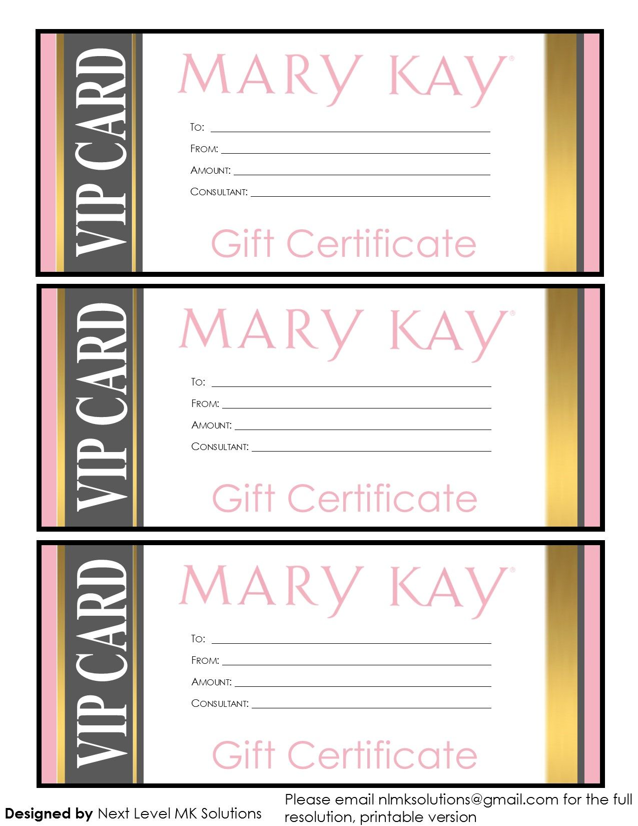 Mary Kay gift certificates please email for the full pdf