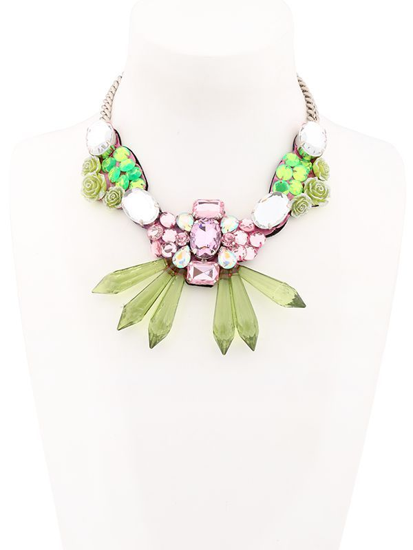 ORTYS - FLORAL & CRYSTALS WIRE FRAME NECKLACE - LUISAVIAROMA - LUXURY SHOPPING WORLDWIDE SHIPPING - FLORENCE