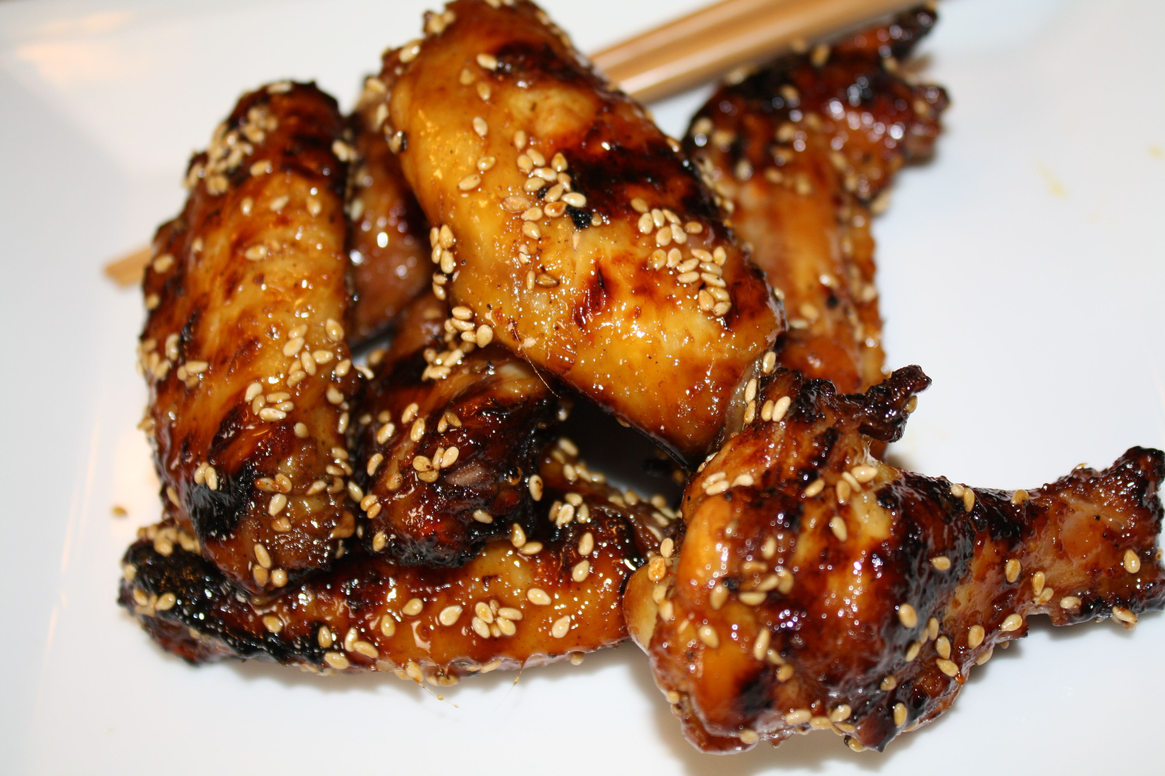 Grilled chicken wings in sesame flavors