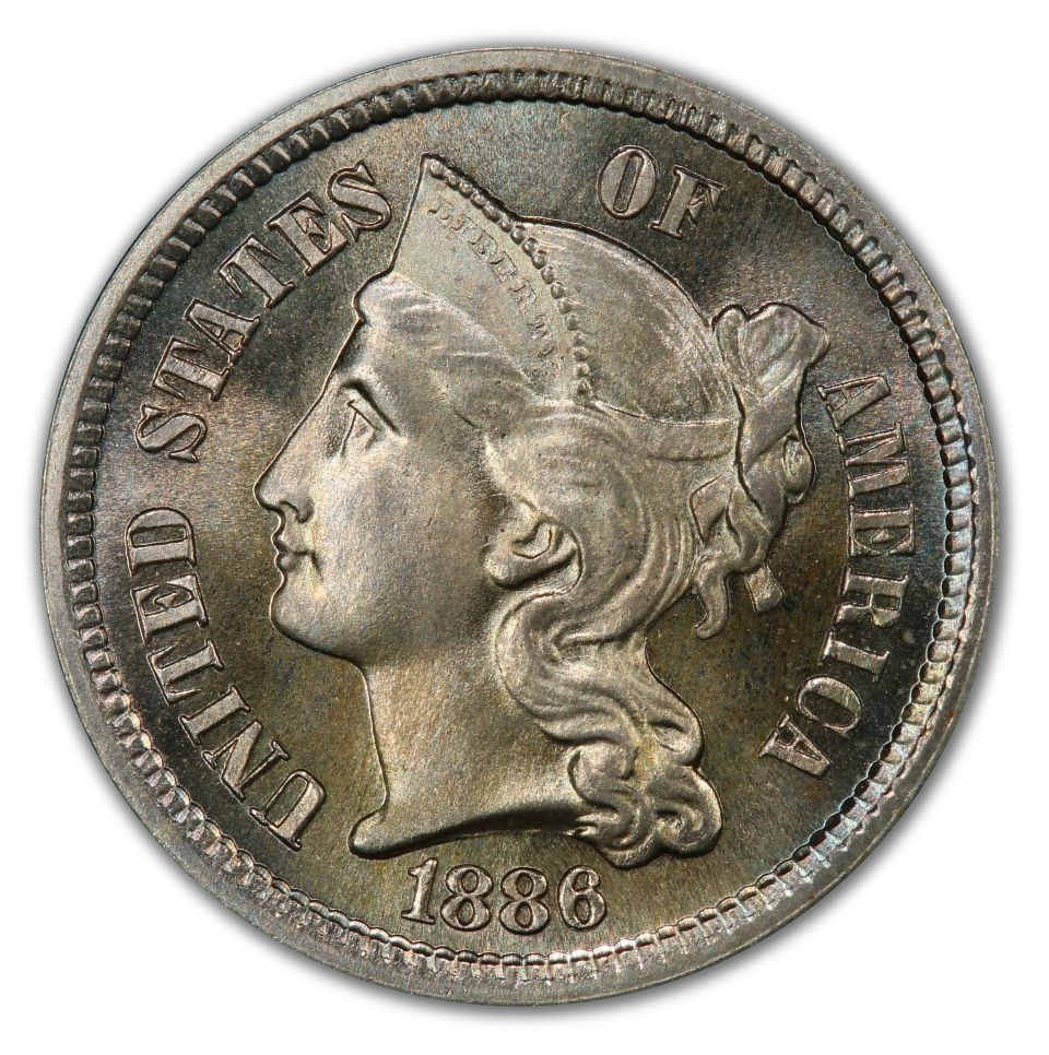 This 1886 3 Cent Nickel is a stunning 67+, CAC approved