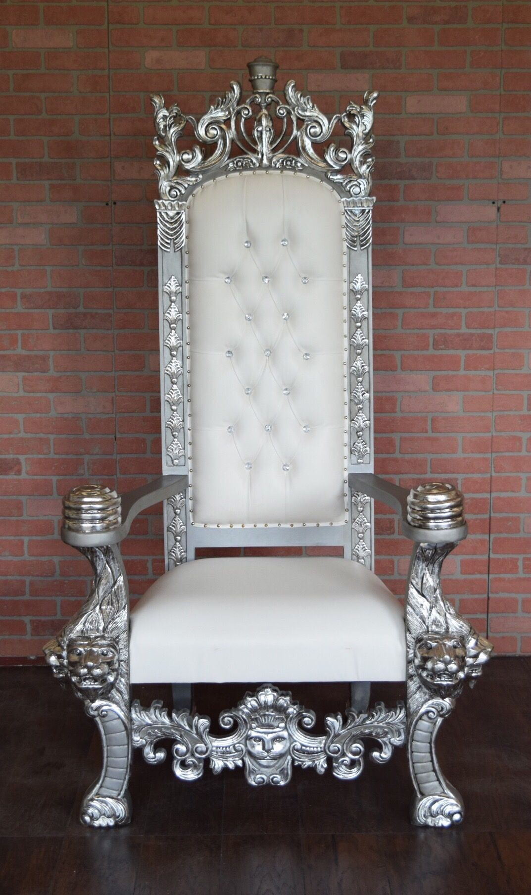 Absolom Roche King Henry Lion Throne Chair Silver White