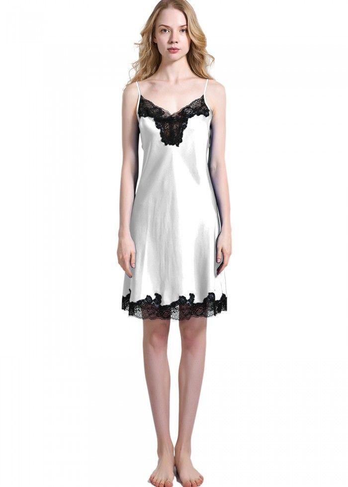 Petite Silk Nightgown Pajamas Slip For Ladies - OOSilk  silk  sleepwear   nightwear  dressinggown  robe  bathrobe  tops  shorts  pants  trousers   bottoms ... 8d5bea151