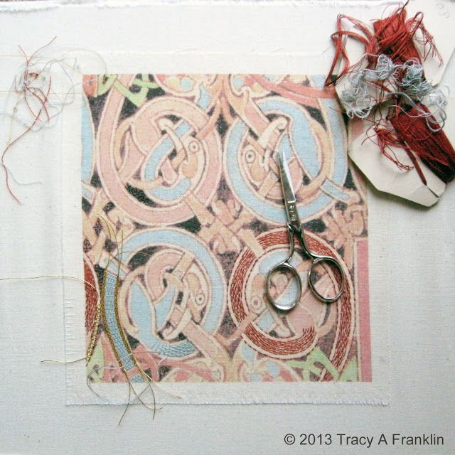 Tracy A Franklin - specialist embroiderer: Lindisfarne Gospel using burden stitch