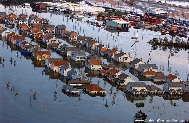 Aerial views of damage caused from Hurricane Katrina the ...