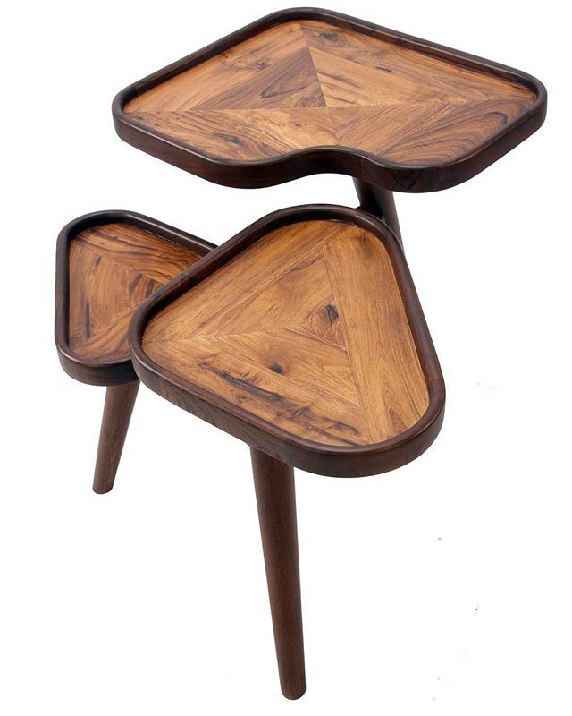 Three legged decorative wooden table with stands ideal for keeping items in livingroom teakwood top solidwood furniture also rh pinterest