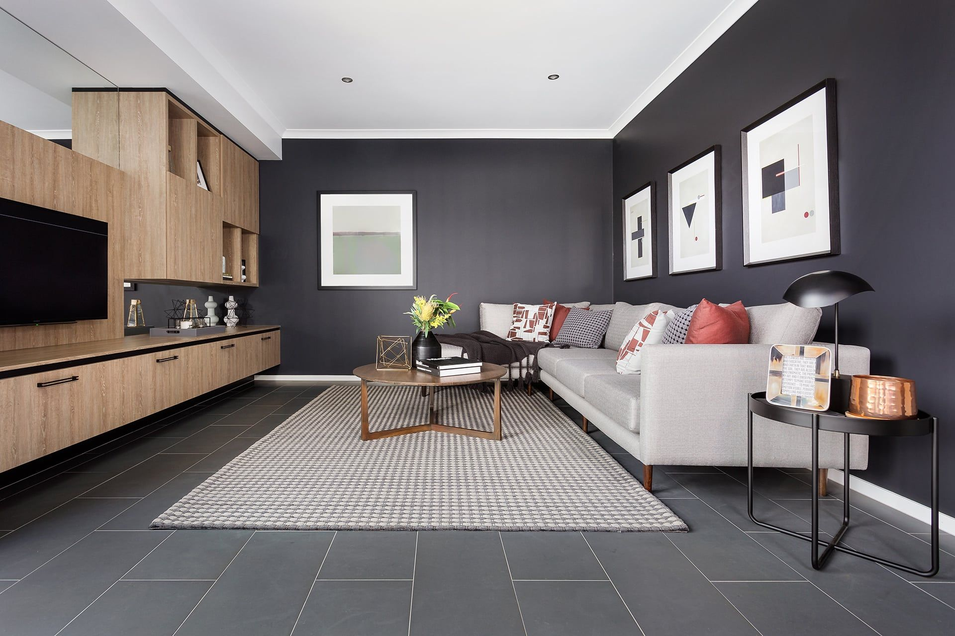 Dark Grey Living Room Wall With Floor Tiles In Living Room From Metricon Living Room Tiles Grey Tiles Living Room Grey Flooring Living Room