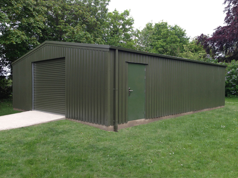 Industrial Steel Storage Building To House A Tractor In A Blewbury Colour  Is Olive Green With