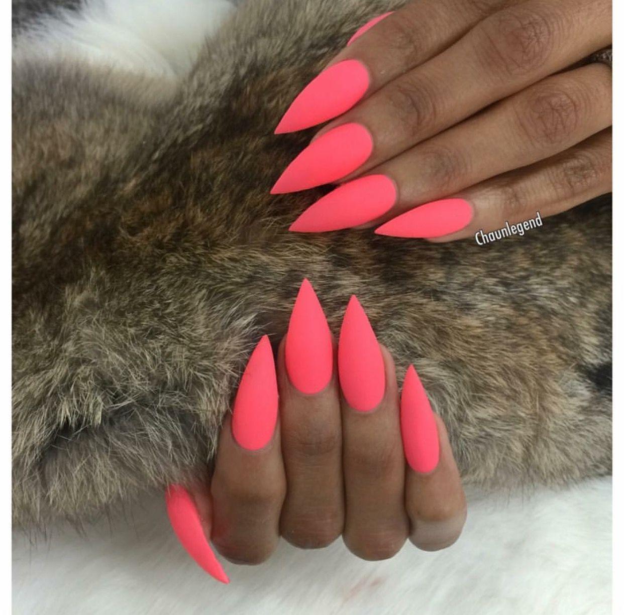 Matte Hot Pink Stiletto Shape Acrylic Nails Pink Stiletto Nails