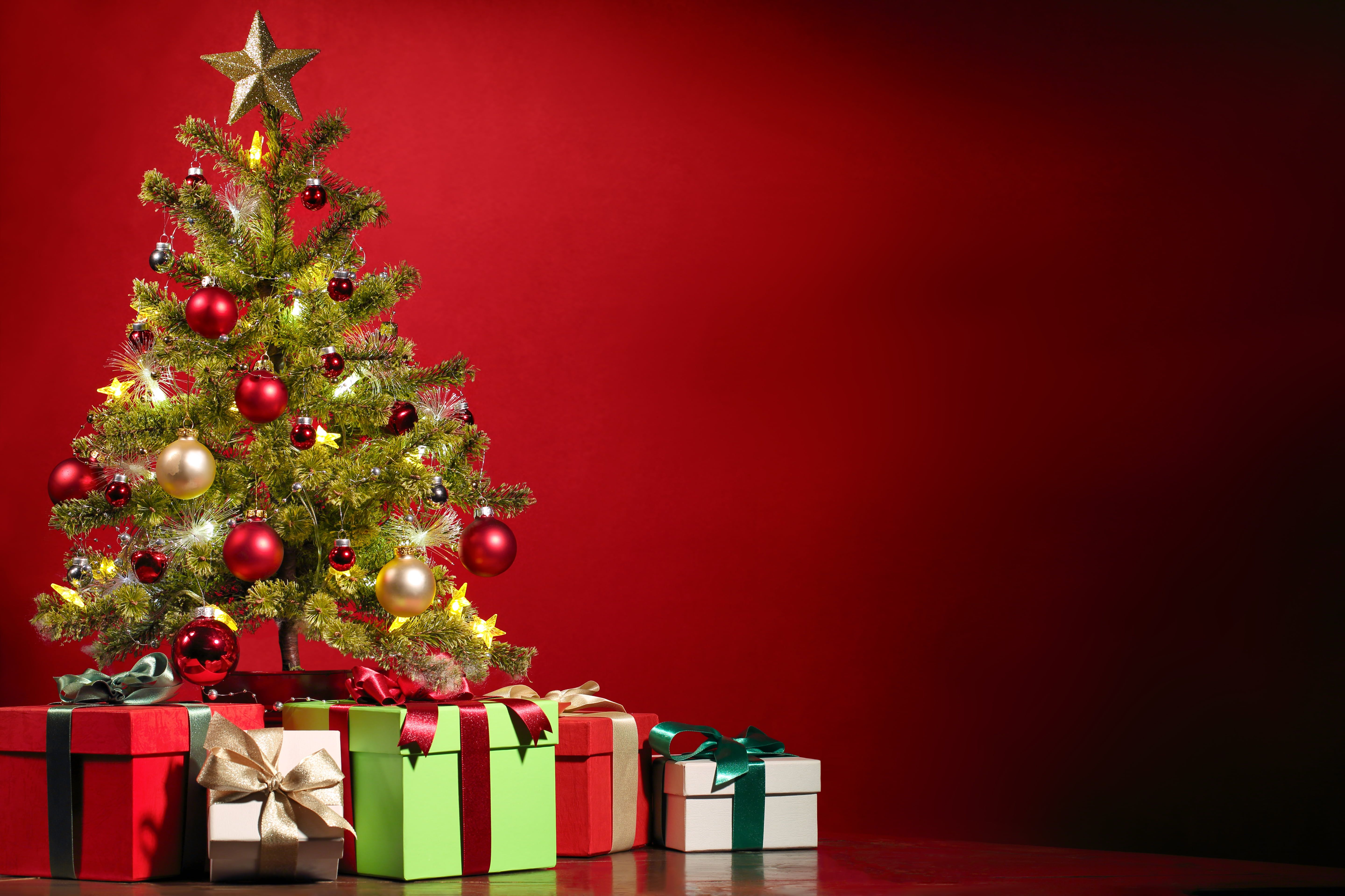 Green Christmas Tree And Assorted Color Gift Boxes Stars Tree Gifts New Year Christmas Tree Images Christmas Tree Wallpaper Christmas Photography Backdrops Hd wallpaper christmas tree gifts boxes