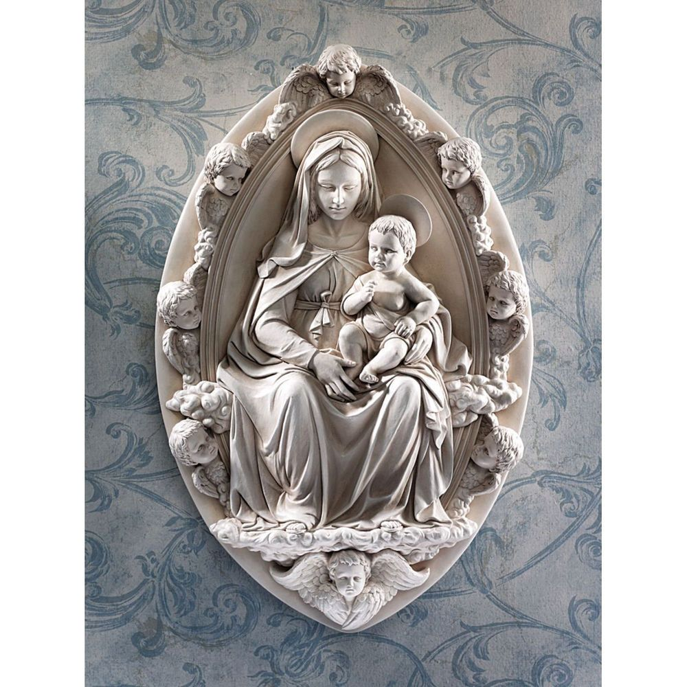 Magnificent Guardian Angel Bas Relief Wall Sculpture NEW