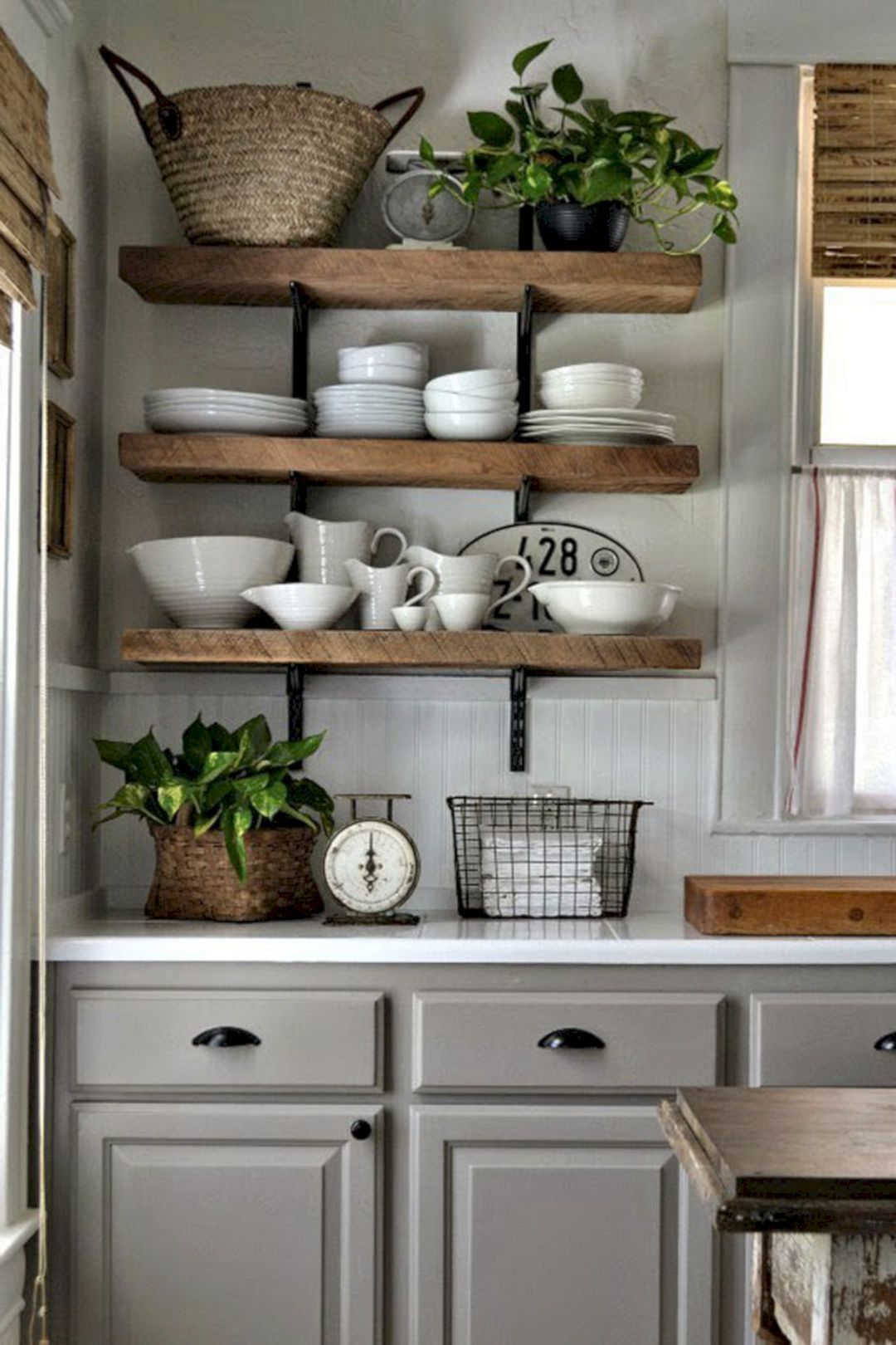 Rustic Kitchen Shelves Ideas In 2020 Rustic Kitchen Farmhouse Kitchen Tables Kitchen Shelves