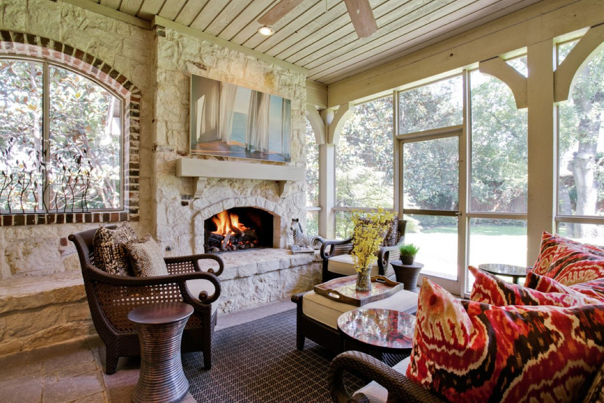 white rock fireplace in screened porch cozy unique screened