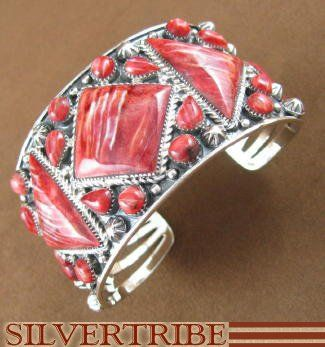 Sterling Silver Red Oyster Shell Jewelry Cuff Bracelet $323.99