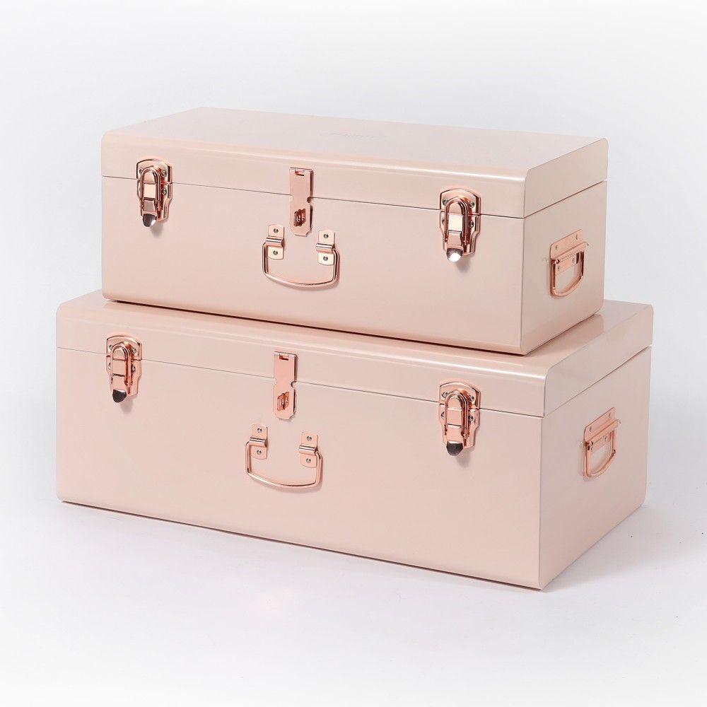 Beautify Set of 2 Blush Pink Steel Storage Trunks 1   • BABY ...