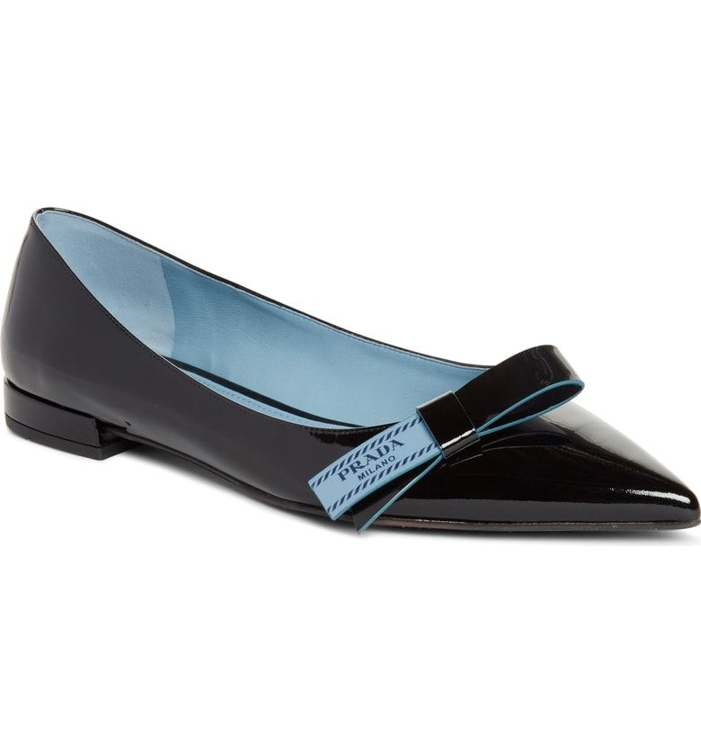 e596145d0c3 Free shipping and returns on Prada Logo Bow Pointy Toe Flat (Women) at  Nordstrom