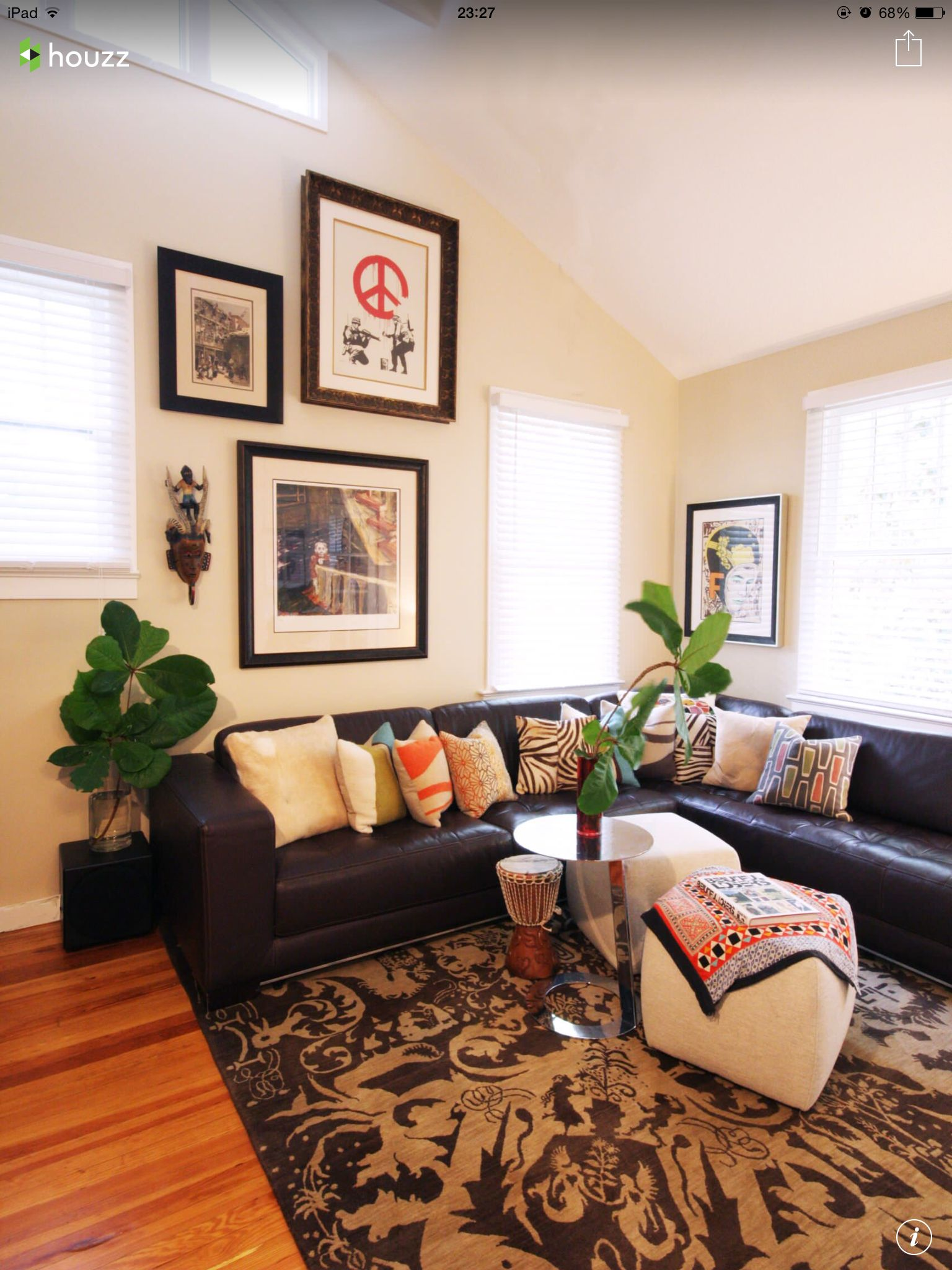 Ideas To Calm A Black Leather Sofa Http Houzz Com Ideabooks 26251962 Eclectic Living Room Leather Couches Living Room Eclectic Living Room Design