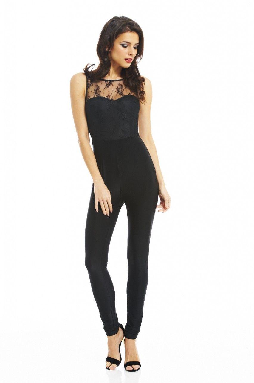 ea66b049d9 Lace Top Contrast Bottom Jumpsuit - AX Paris