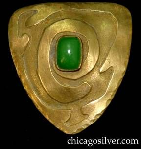 Brooch / pin, brass, triangular, with spiraling triangular line, centering green bezel-set stone.  Very reminiscent of Frost or Forest Craft...