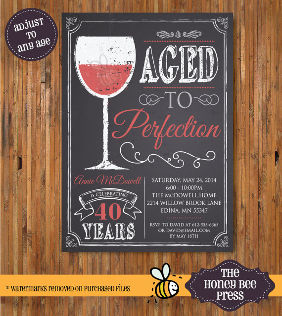 wine birthday invitation aged to perfection by thehoneybeepress
