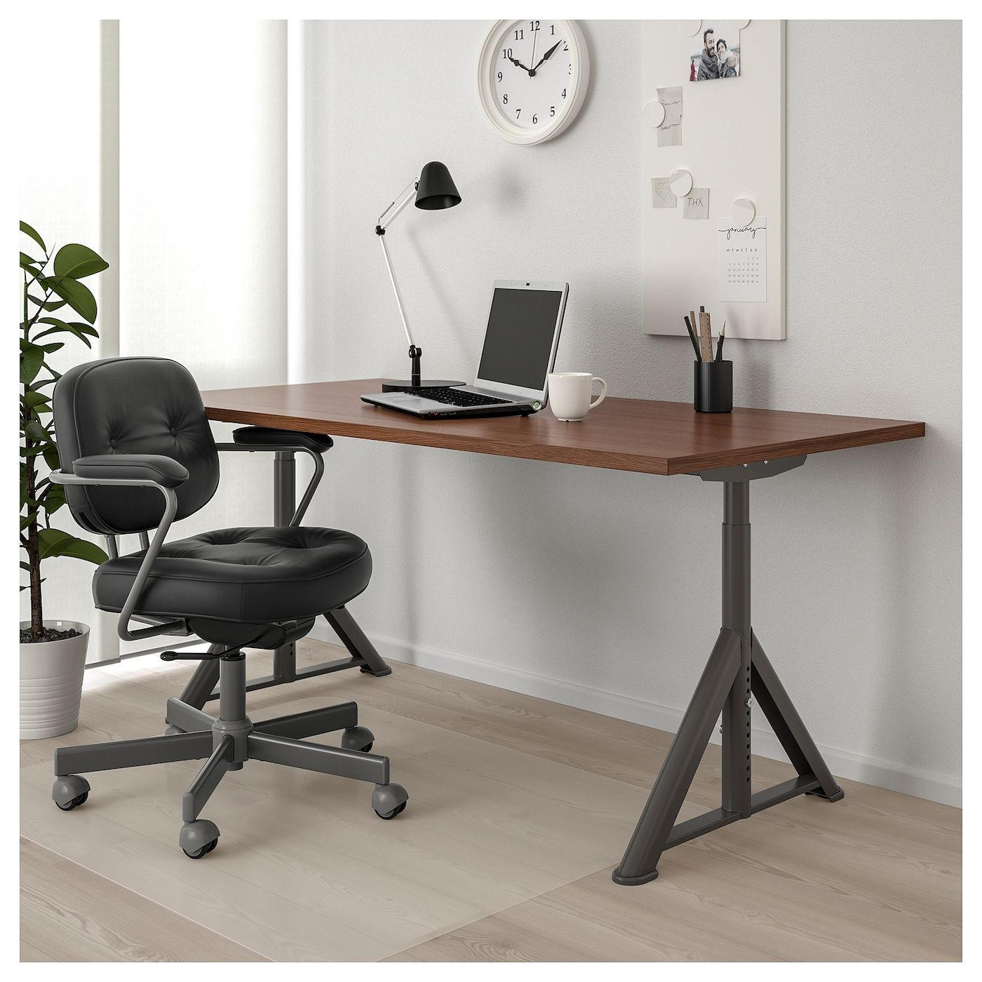 Idasen Desk Brown Dark Gray 63x31 1 2 Black Desk Ikea