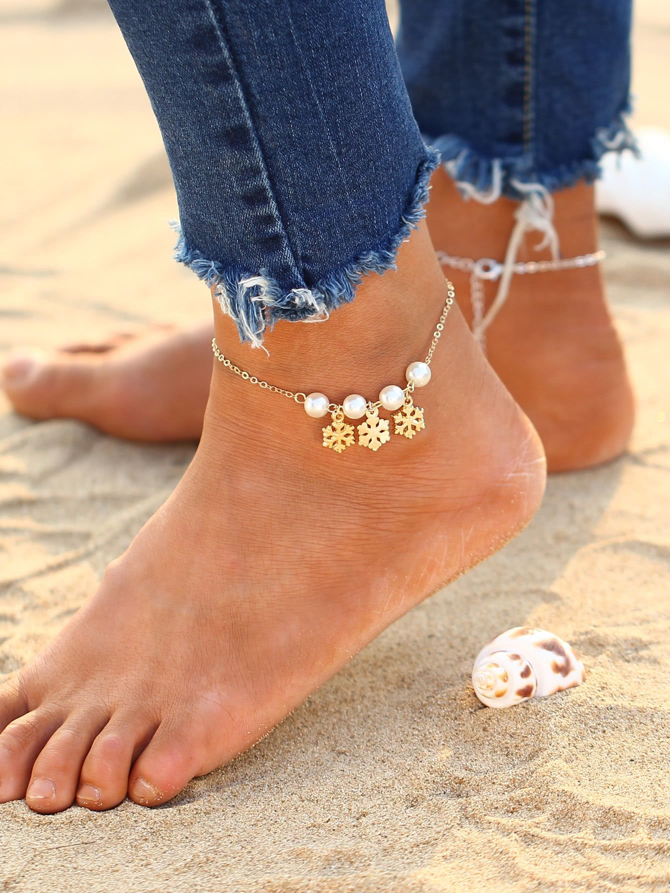 shop the a jewel cable white full chain in products gold anklet