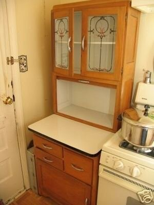 Beautiful Rare Half Size Apartment Hoosier Cabinet With Stenciled Glass Doors C 1930 This Is An Unusual Measuring Rox