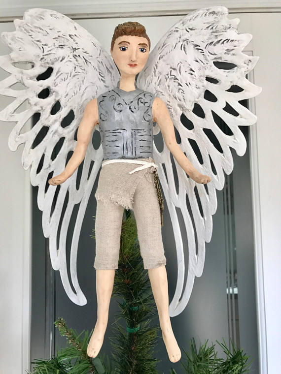 Male Angel Christmas tree topper tree top Angel Handmade Male - Male Angel Christmas Tree Topper Tree Top Angel Handmade Male Angel