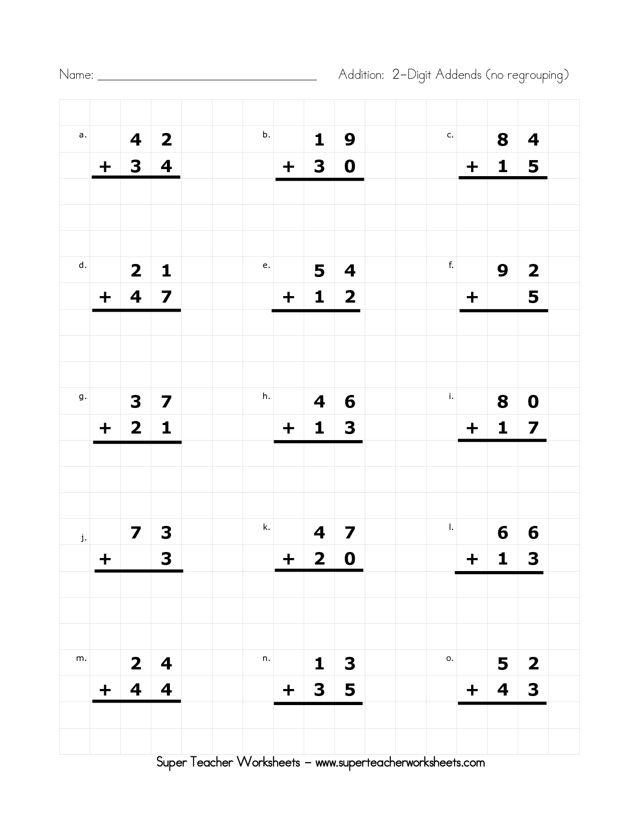 2nd Grade Easy Addition Templates