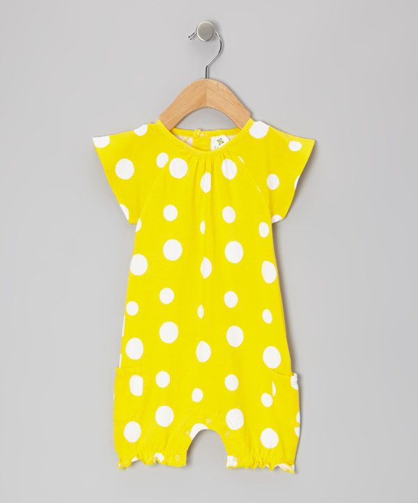 Take a look at this Yellow Polka Dot Organic Bubble Romper - Infant on zulily today!