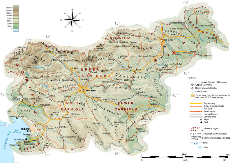 Topographische Karte Ungarn.General Map Of Slovenia Slowenien Slowenien Slowenien