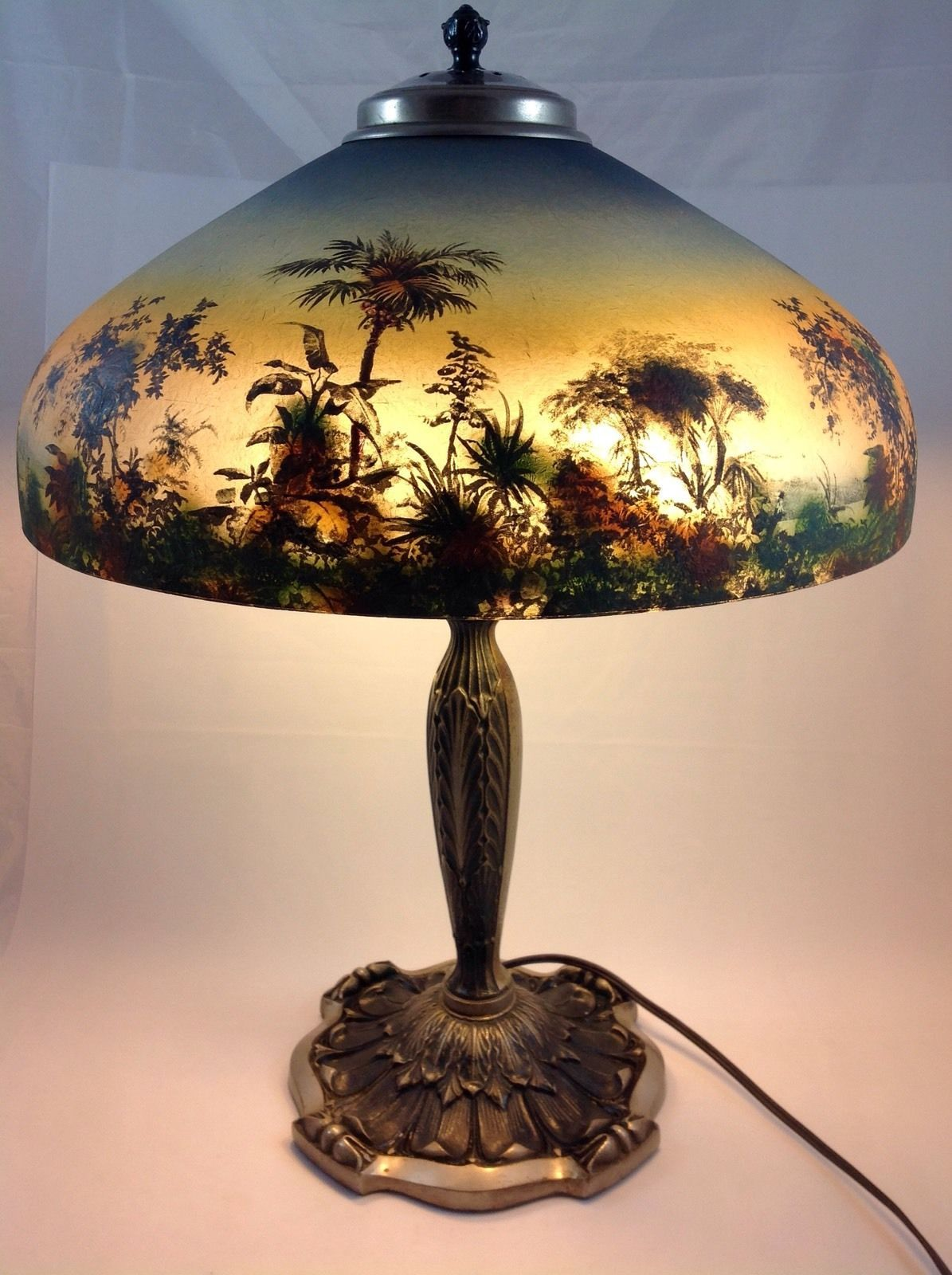 Painting Glass Lamps Offering A Fantastic Pittsburgh Reverse Painted Lamp With A