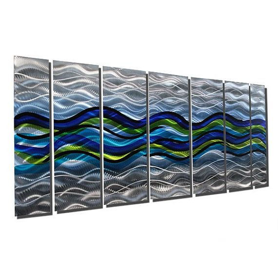 Ocean Inspired Abstract Painting Multi Panel Wall Art Large Etsy Silver Metal Wall Art Abstract Metal Wall Art Contemporary Metal Wall Art