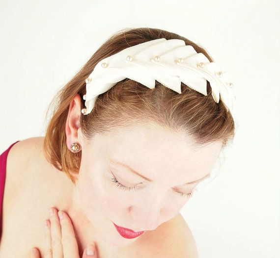 Vintage Off White Grosgrain Ribbon and Pearl Bead Headband